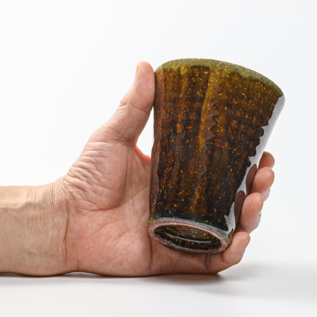 萩焼(伝統的工芸品)タンブラー大飴釉筒碁笥底