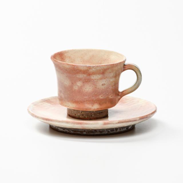 萩焼(伝統的工芸品)カップ&ソーサ御本手端反No510