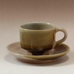 萩焼(伝統的工芸品)カップ&ソーサ掛分け(刷毛姫&飴釉)筒