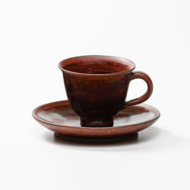 萩焼(伝統的工芸品)カップ&ソーサ鉄赤釉朝顔