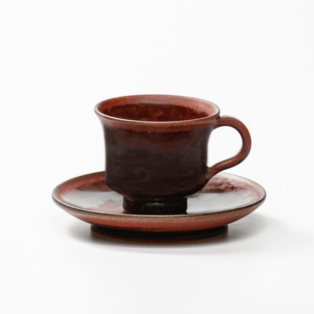 萩焼(伝統的工芸品)カップ&ソーサ鉄赤釉端反No516