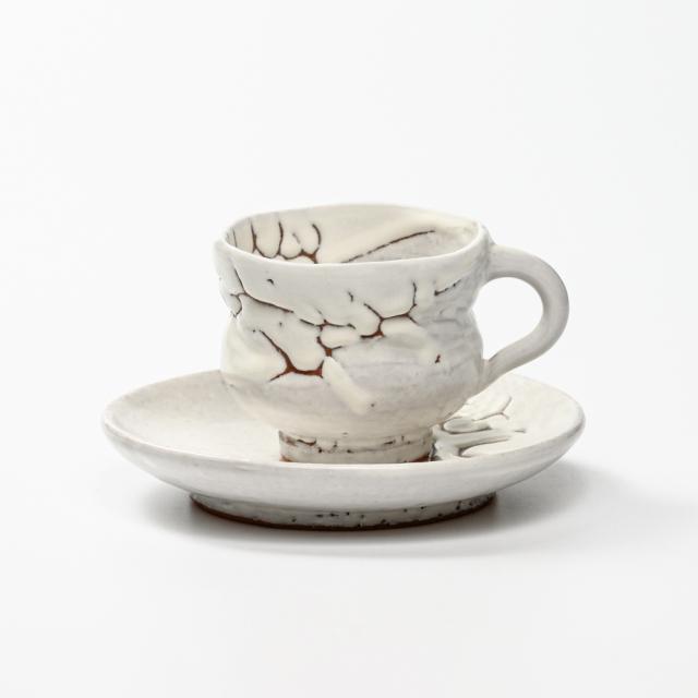 萩焼(伝統的工芸品)カップ&ソーサ鬼白松胴締線彫No518
