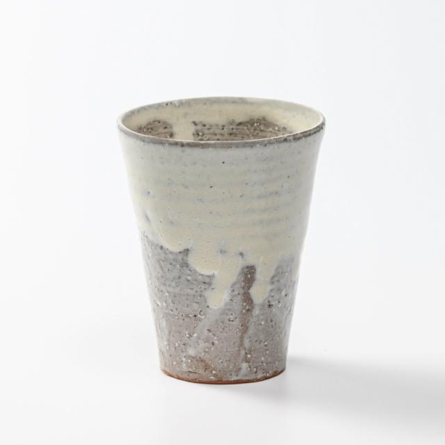 萩焼(伝統的工芸品)タンブラー大白萩釉筒碁笥底