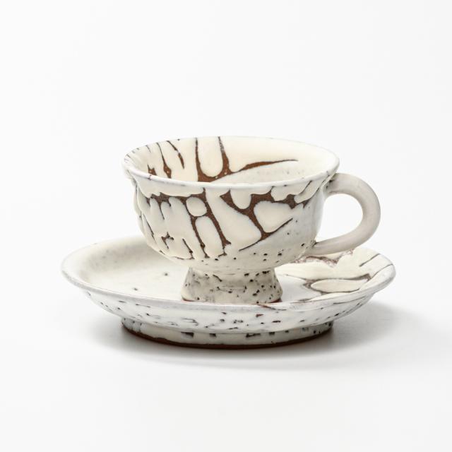 萩焼(伝統的工芸品)カップ&ソーサ鬼白特朝顔平