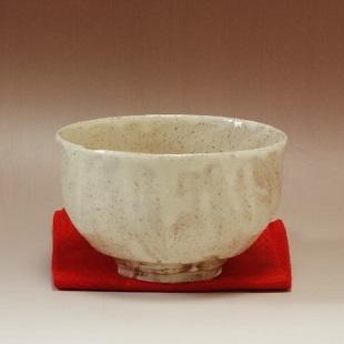 萩焼(伝統的工芸品)抹茶碗粉引半筒