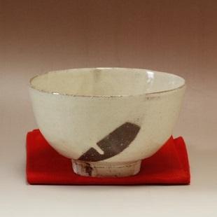 萩焼(伝統的工芸品)抹茶碗粉引碗形火間
