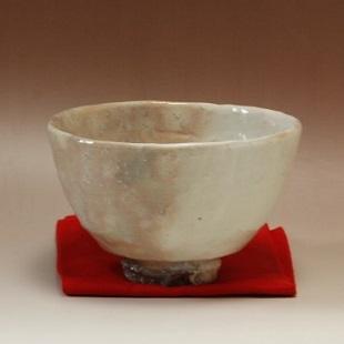 萩焼(伝統的工芸品)抹茶碗掛分け(化粧&白化粧)井戸形