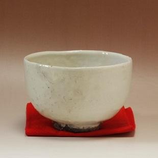 萩焼(伝統的工芸品)抹茶碗掛分け(化粧&白化粧)半筒