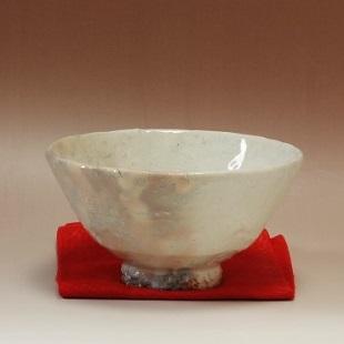 萩焼(伝統的工芸品)抹茶碗掛分け(化粧&白化粧)平