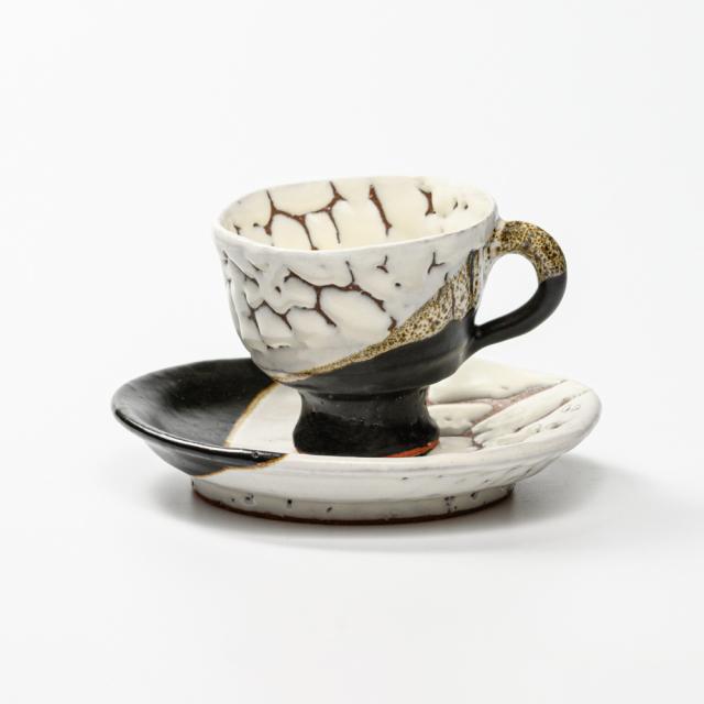 萩焼(伝統的工芸品)カップ&ソーサ掛分け(鬼白松&黒釉)井戸形