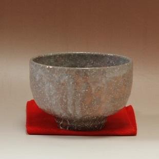 萩焼(伝統的工芸品)抹茶碗上化粧荒半筒