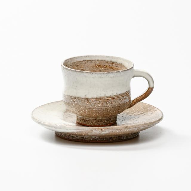 萩焼(伝統的工芸品)カップ&ソーサ白萩掛分け胴締