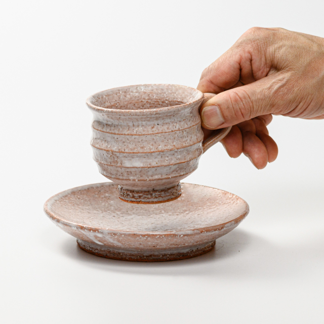 萩焼(伝統的工芸品)カップ&ソーサ鬼萩丸線紋No530