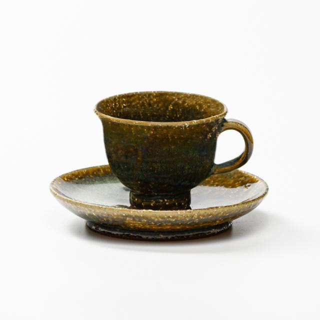萩焼(伝統的工芸品)カップ&ソーサ鉄青釉朝顔