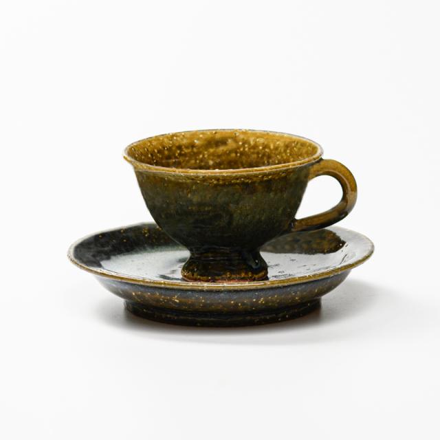 萩焼(伝統的工芸品)カップ&ソーサ鉄青釉平高付