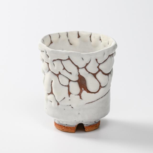 萩焼(伝統的工芸品)湯呑大鬼白松端反えくぼNo53