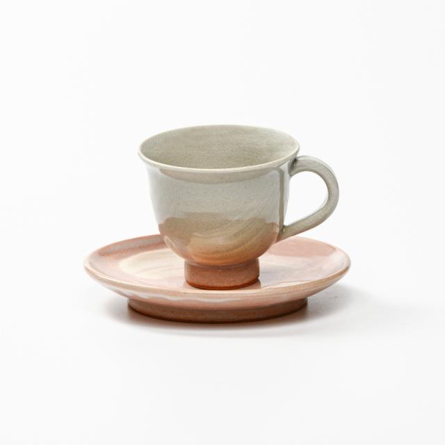 萩焼(伝統的工芸品)カップ&ソーサ小刷毛姫朝顔No551