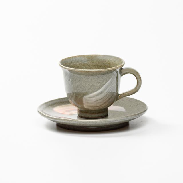 萩焼(伝統的工芸品)カップ&ソーサ小刷毛青朝顔