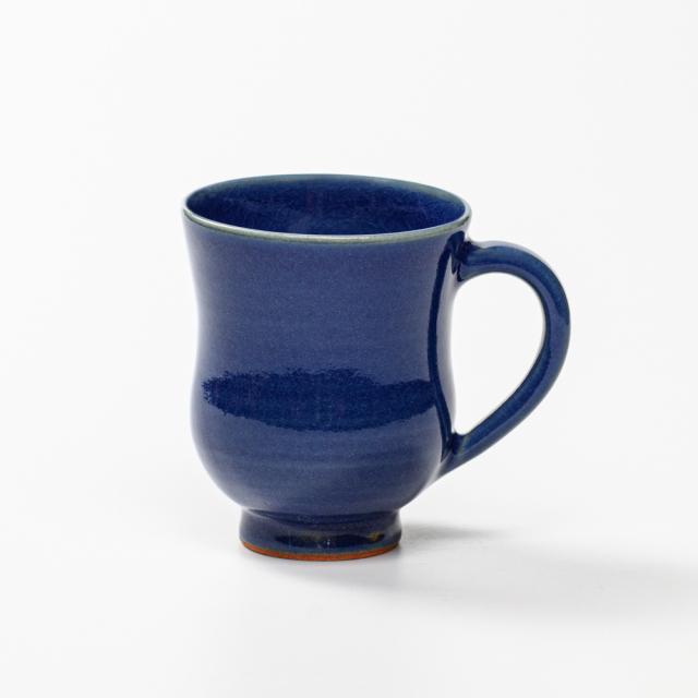 萩焼(伝統的工芸品)マグカップ小藍釉胴締No565