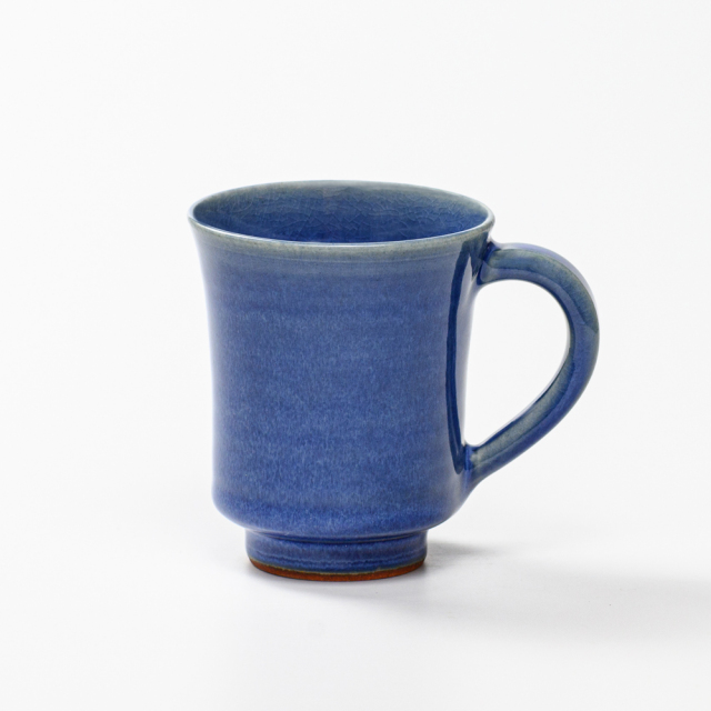 萩焼(伝統的工芸品)マグカップ小透青釉端反No569