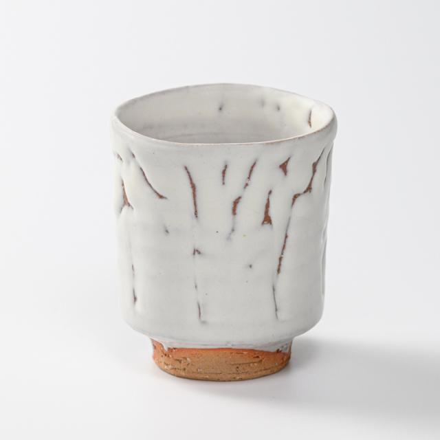 萩焼(伝統的工芸品)湯呑大鬼白竹筒線彫No56