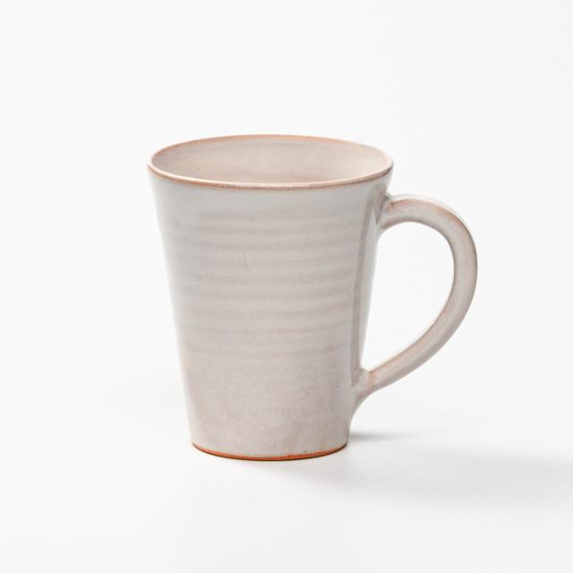 萩焼(伝統的工芸品)マグカップ白姫末広碁笥底