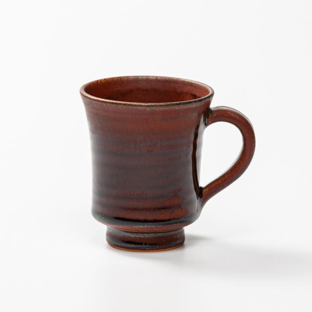 萩焼(伝統的工芸品)マグカップ小鉄赤釉端反No574