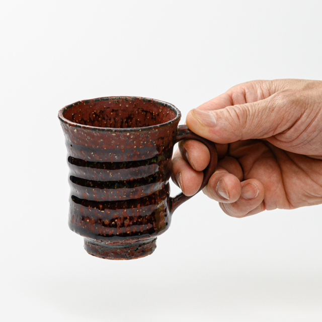 萩焼(伝統的工芸品)マグカップ小鉄赤釉端反線紋No575