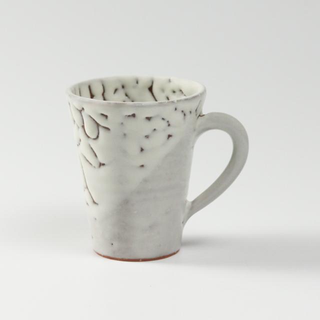 萩焼(伝統的工芸品)マグカップ小鬼白松末広碁笥底No576