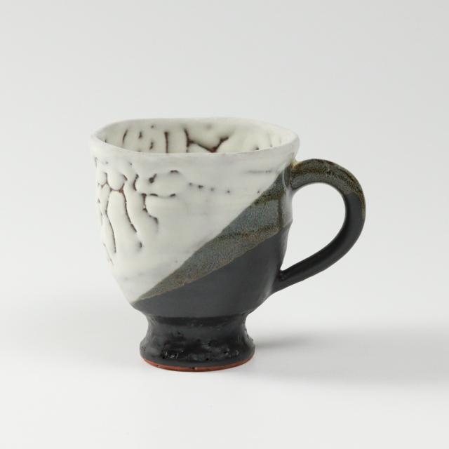 萩焼(伝統的工芸品)マグカップ小掛分け(鬼白松&黒釉)呉器No577