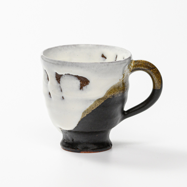 萩焼(伝統的工芸品)マグカップ小掛分け(鬼白竹&黒釉)呉器No578
