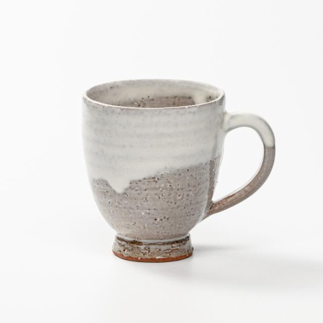 萩焼(伝統的工芸品)マグカップ小白萩掛分け呉器No579