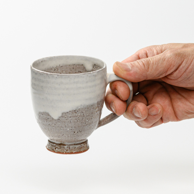 萩焼(伝統的工芸品)マグカップ白萩掛分け呉器