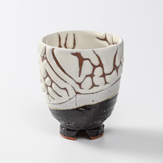 萩焼(伝統的工芸品)湯呑大掛分け(鬼白特&黒釉)呉器ヘラメNo57