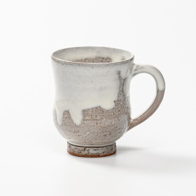 萩焼(伝統的工芸品)マグカップ白萩掛分け胴締