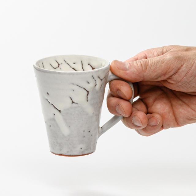 萩焼(伝統的工芸品)マグカップ小鬼白竹末広碁笥底No581