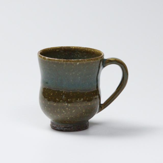 萩焼(伝統的工芸品)マグカップ小鉄青釉胴締No582