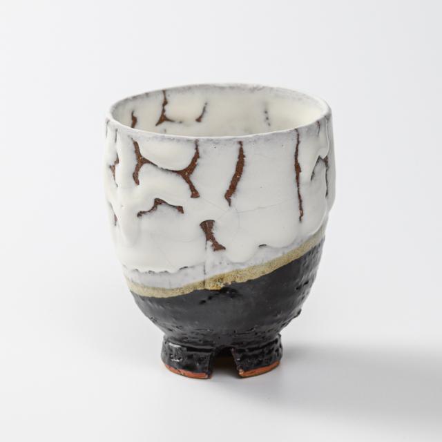 萩焼(伝統的工芸品)湯呑大掛分け(鬼白松&黒釉)呉器ヘラメNo58