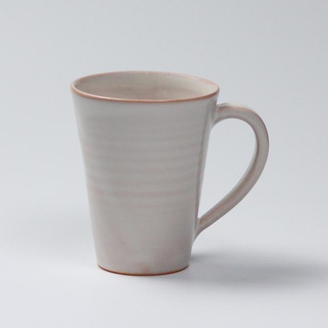 萩焼(伝統的工芸品)マグカップ大白姫末広碁笥底