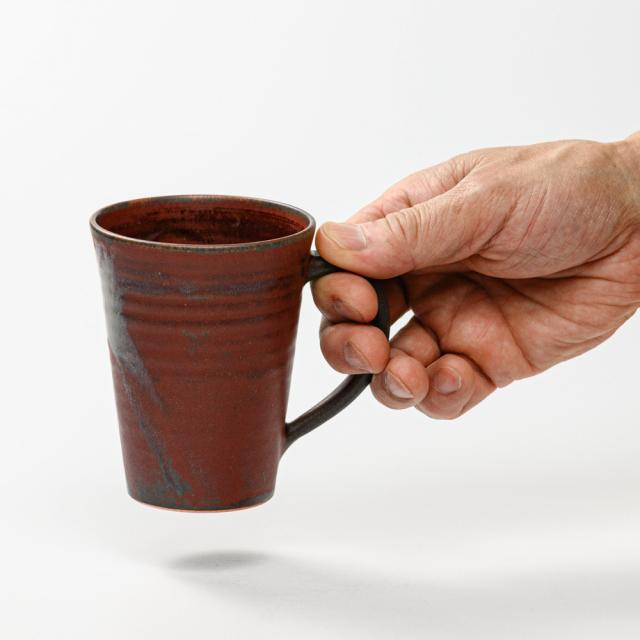 萩焼(伝統的工芸品)マグカップ大鉄赤釉末広碁笥底
