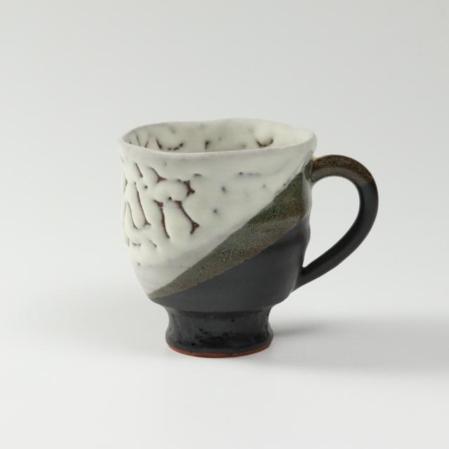 萩焼(伝統的工芸品)マグカップ大掛分け(鬼白松&黒釉)呉器No596