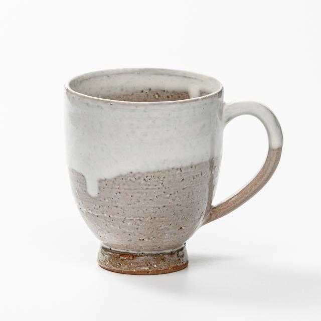 萩焼(伝統的工芸品)マグカップ大白萩掛分け呉器No598