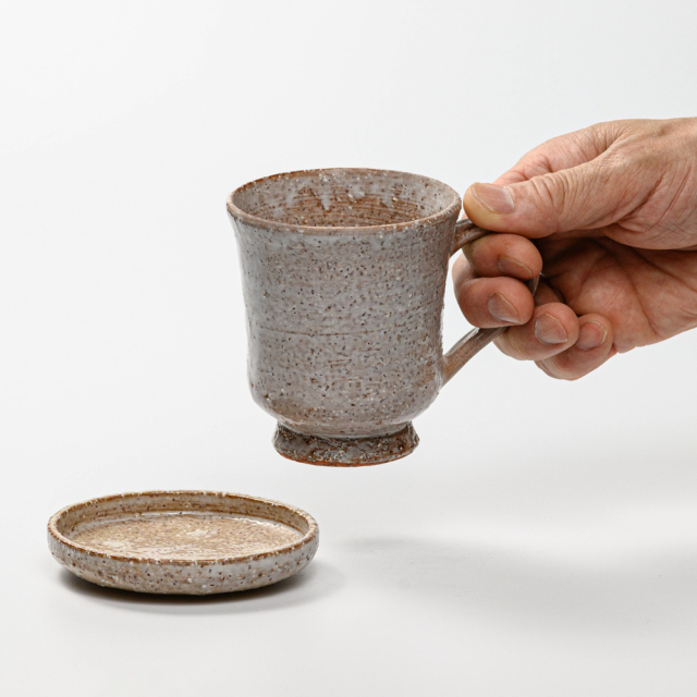 萩焼(伝統的工芸品)マグカップ大鬼萩筒蓋付No600