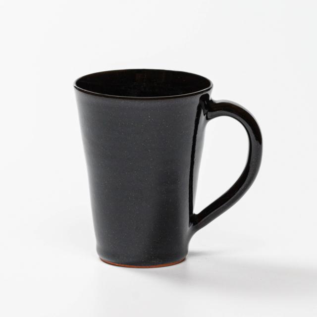 萩焼(伝統的工芸品)マグカップ大銀黒星釉末広碁笥底No601