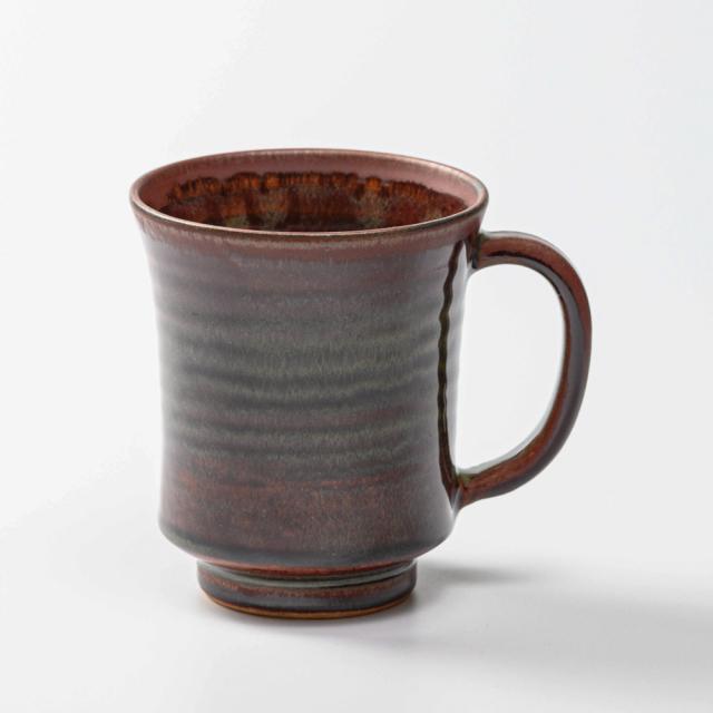 萩焼(伝統的工芸品)ビールジョッキ鉄赤釉端反