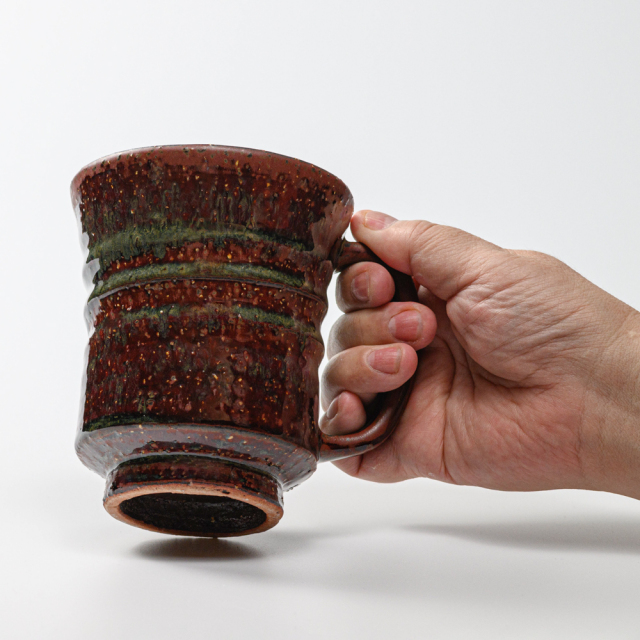 萩焼(伝統的工芸品)ビールジョッキ鉄赤釉荒端反