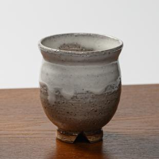 萩焼(伝統的工芸品)湯呑大白萩掛分け丸