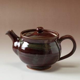 萩焼(伝統的工芸品)ティーポット鉄赤釉丸