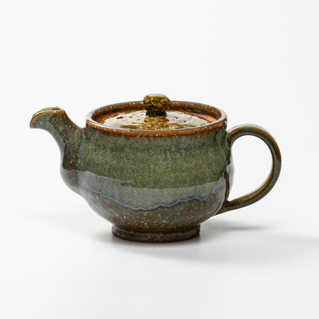 萩焼(伝統的工芸品)ポット鉄青釉丸