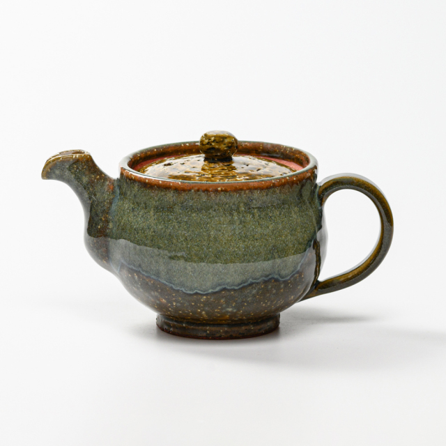 萩焼(伝統的工芸品)ポット鉄青釉丸No624